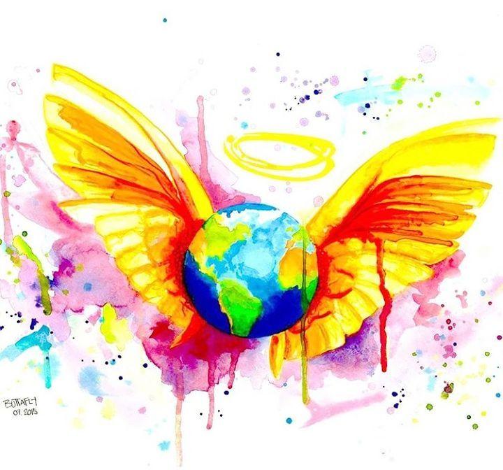 Angel - Originale Malerei von Buttafly - Vanessa Brünsing - Kunstwerk - Aquarell